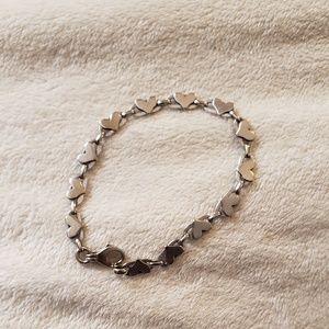 Jewelry - Unique 14kt Italian White Gold heart Bracelet